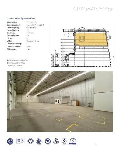 nave industrial en renta 34,063 pies2 /3,165 m2 por otay tijuana bc