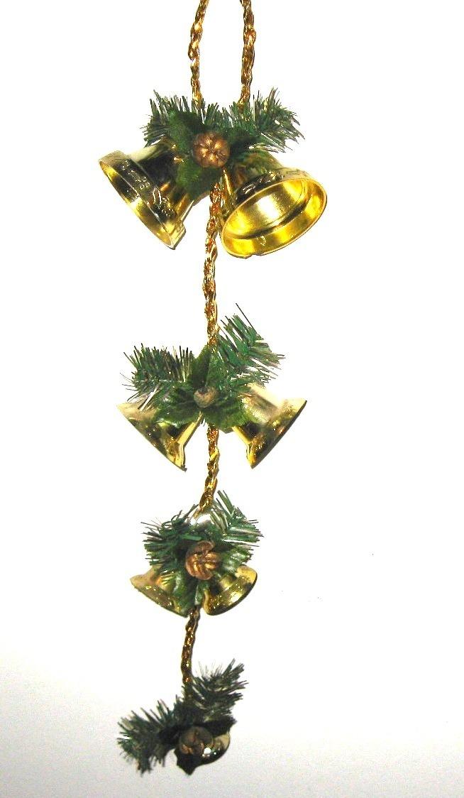 Navidad Adorno Colgante 7 Campanas Doradas Con Piñas - $ 45,00 en ...