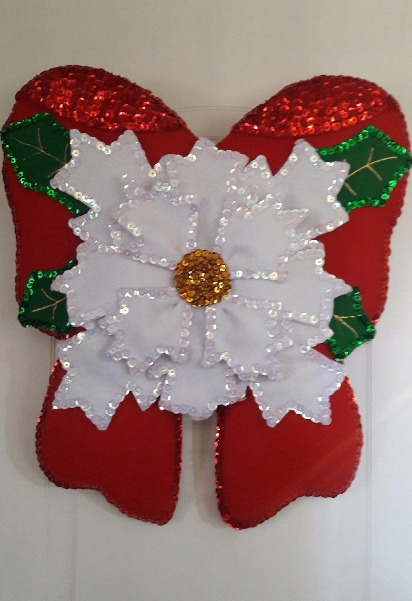 Navidad adorno navide o para puerta mo o con flor for Arreglos navidenos para puertas