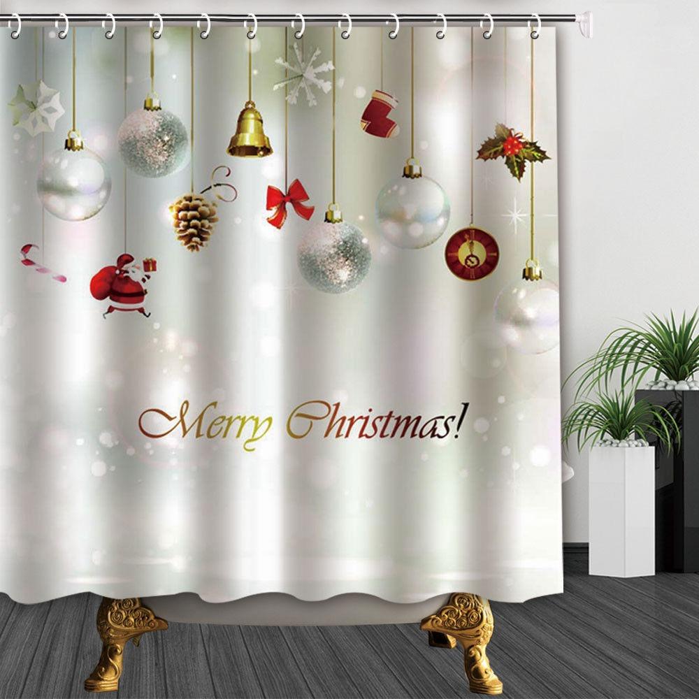 Adornos Baño | Navidad Adornos De Bolas Y Calcetines Bano Ducha Cortina 205 990