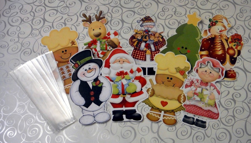 navidad dulcero celofán santa reno pino regalo navideño mesa