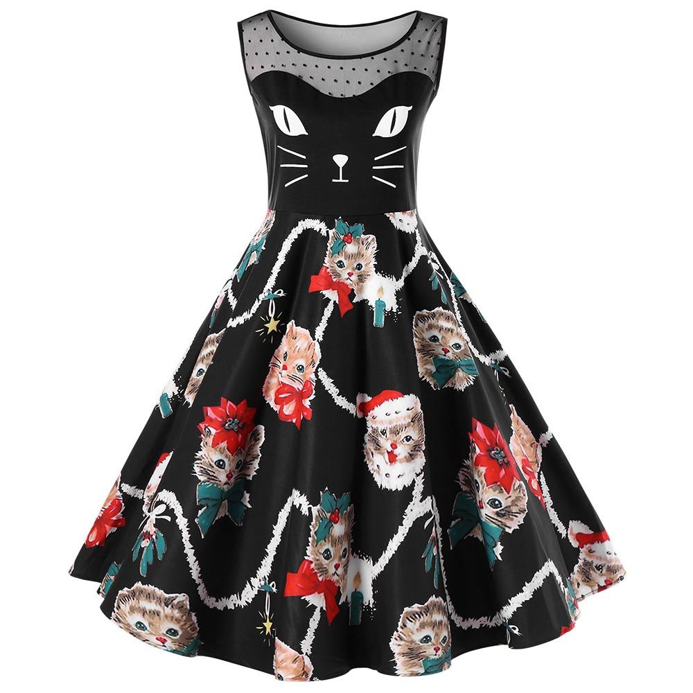 Navidad Gatito Impreso Casual Vintage Vestidos Para Mujeres