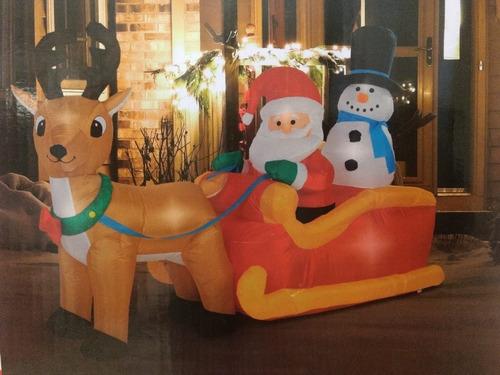 navidad inflable trineo santa reno led 2m envio gratis