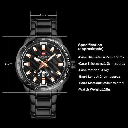 naviforce 9090 reloj análogo pulsera hombre casual deportivo