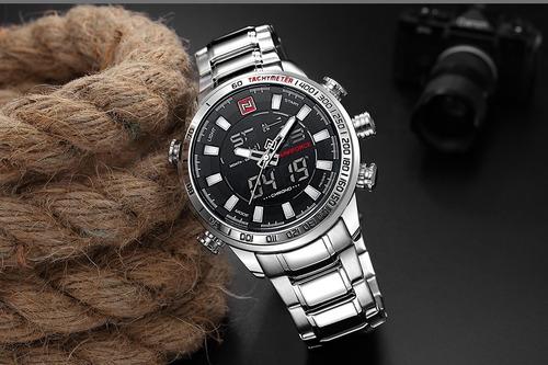 naviforce 9093gg reloj de lujo deportivo impermeable plata