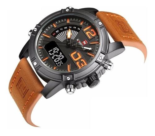 naviforce 9095 reloj casual hombre cuero analogo digital