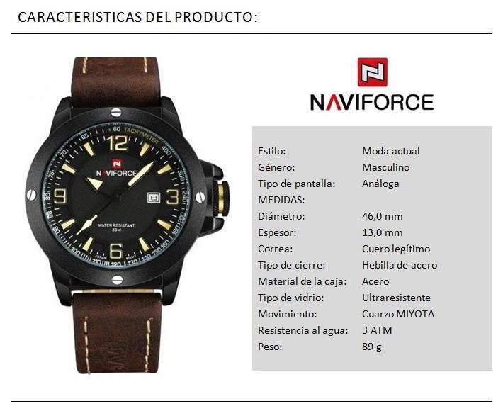 778adf6e39ed Naviforce Nf9077 Reloj Estilo Militar Cuero Moderno Calidad ...