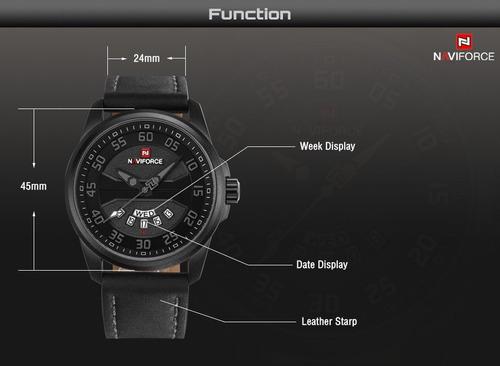 naviforce nf9124bgy reloj lujo deportivo fecha cuero negro