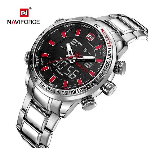 naviforce relógio digital quartz men inoxi impermeável pra