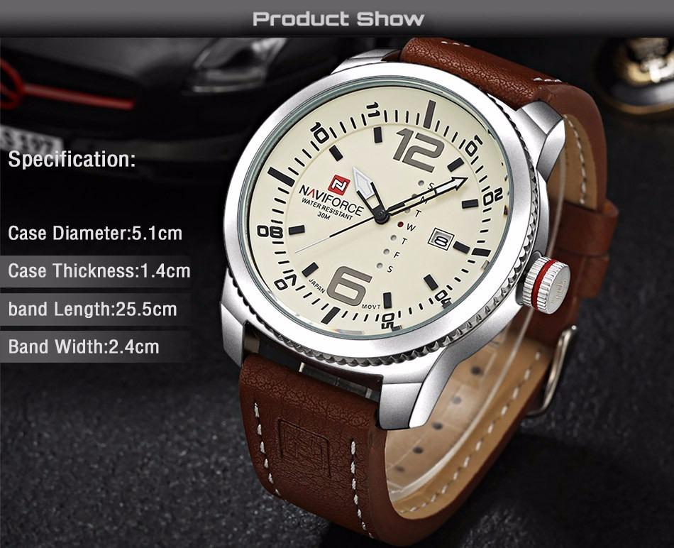 46a7b39288b naviforce relógio quartzo de pulso masculino pulseira couro! Carregando  zoom.