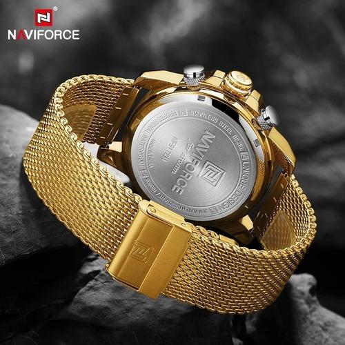 naviforce relógios do esporte dos homens de luxo ouro quartz