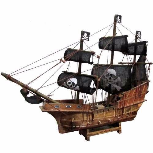 navio barco pirata caravela santa maria decorativo 40cm