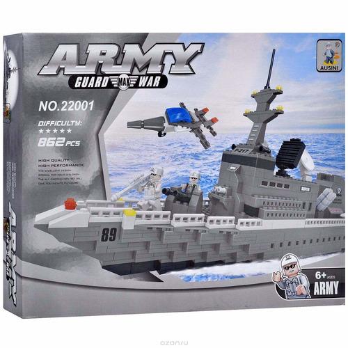 navio de guerra, bloques armables, 862 piezas