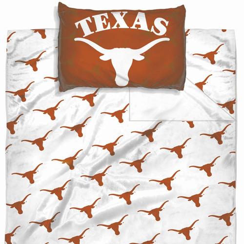 ncaa texas longhorns hoja set logo hojas gemelo cama
