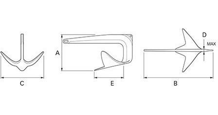 âncora em aço inox 316 s/ solda bruce - tam: 7,5kg barco
