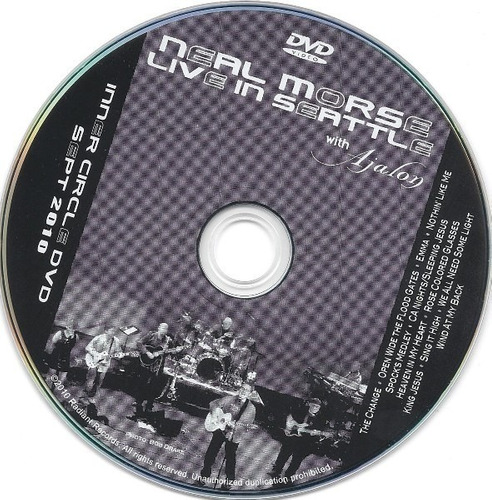 neal morse live in seattle with ajalon dvd raro original