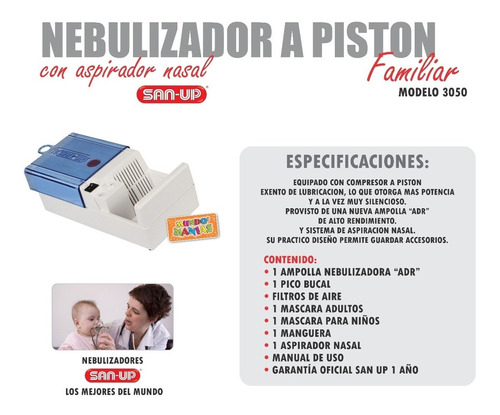 nebulizador san up a piston familiar 3050 mundo manias