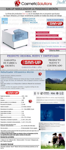 nebulizador ultrasonico san up micron art3058 garantia 1 año