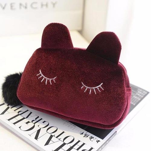 necessaire feminina maquiagem acessórios gatinho - 6 cores