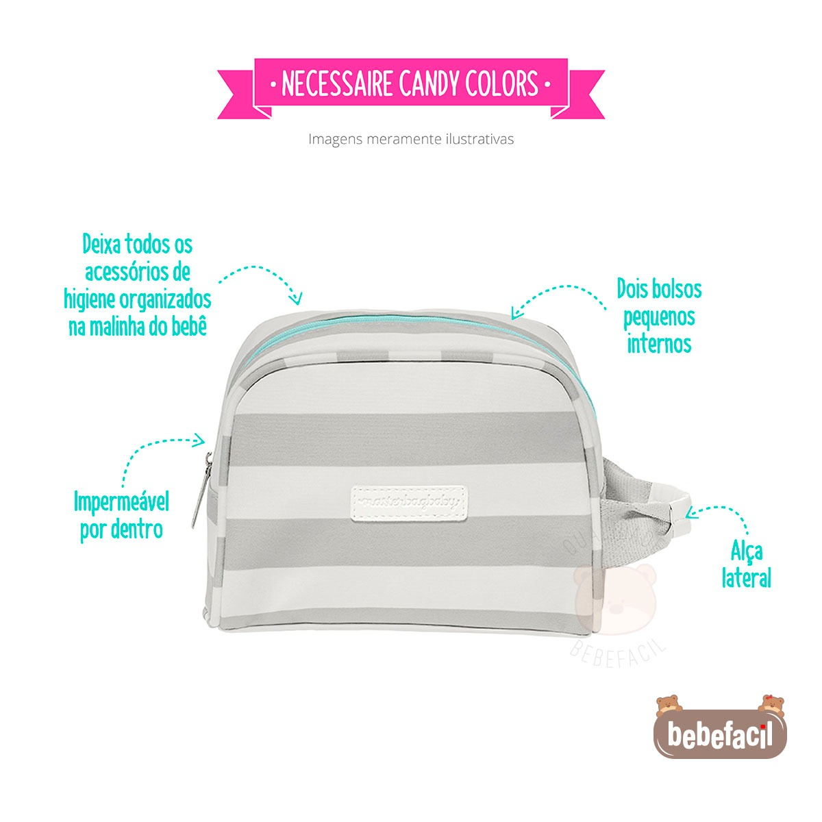 028db3a29 Necessaire Para Bebê Candy Colors Menta - Masterbag - R$ 168,90 em ...