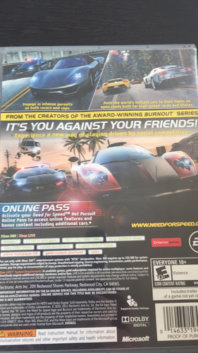need for speed hot pursuit xbox 360 seminuevo