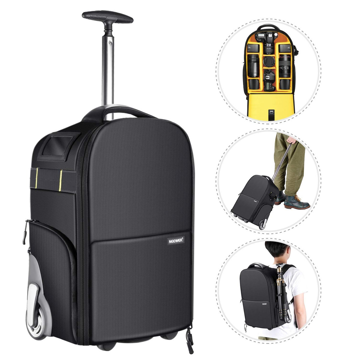 53024fcec neewer 2-en-1 ruedas cámara mochila carretilla maleta, anti. Cargando zoom.