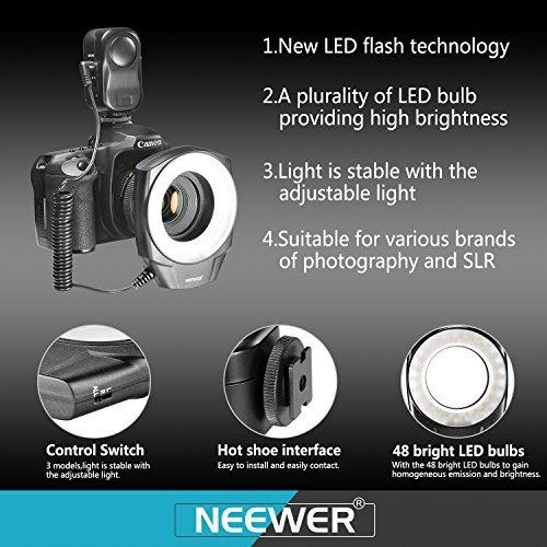 neewer 48 marco de luz led anillo con 6 protección (49mm, 5