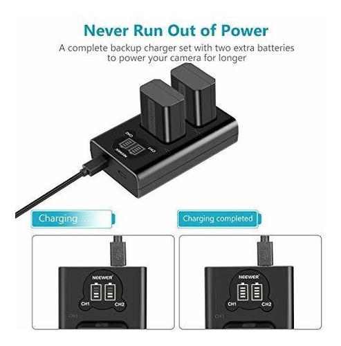 neewer np-fw50 camera battery charger set for sony a6000 a65