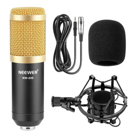 Neewer Nw-800 Microfono Condensador Profesional Para Estudio De Transmisión Y Grabación - Se Conecta Directo A Pc - Gold