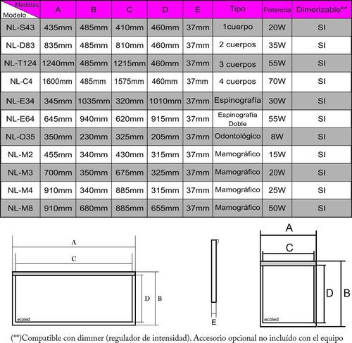 negatoscopio led nl-d83 2cuerpos garantía escrita 3 años