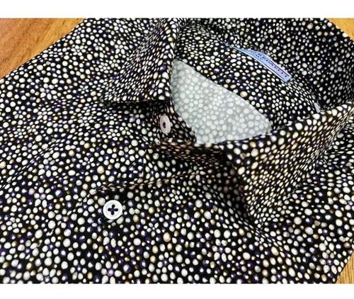 negra lunares azul/blanco
