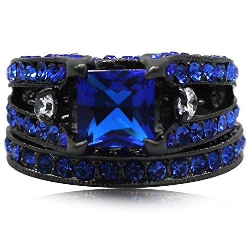 negro azul princesa cut cúbicos zirconia anillo de boda conj