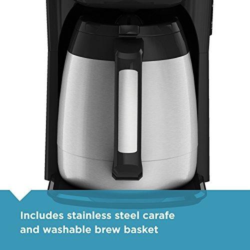 negro + decker 12-taza cafetera térmico, negro / plata, cm