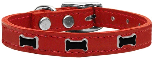 negro hueso widget collar perro cuero genuino rojo 10