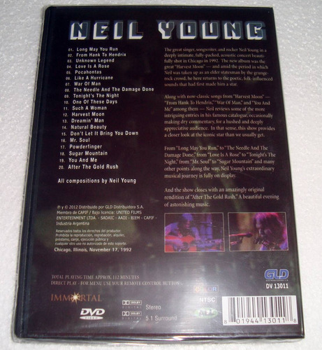 neil young live in chicago 1992 dvd nuevo sellado