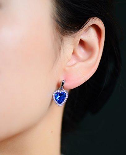neoglory azul corazon cristal gota pendientes rhinestone pla