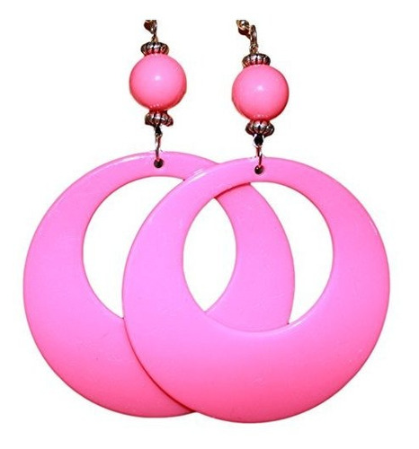 neon fluorescent large retro hoop dangle pendiente de traje