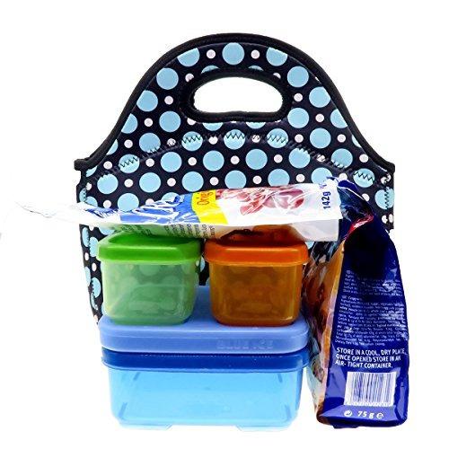 neopreno blue dot almuerzo bolsa de asas - insulated box lu