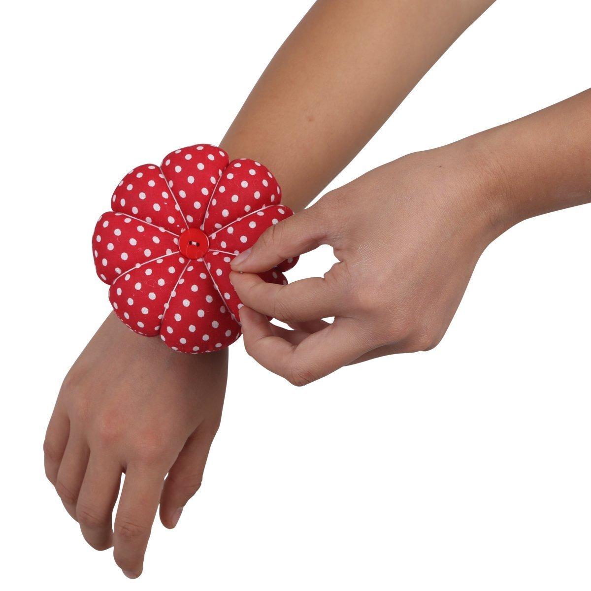 NEOVIVA Wrist Wearable Pin Cushions Set of 2 Style Pumpkin Polka Dots Tango Red