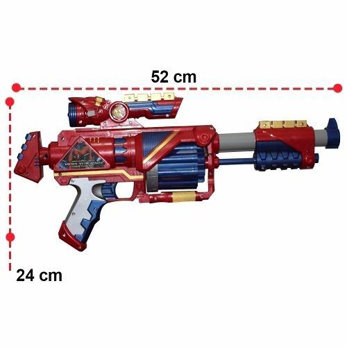 nerf soft metralhadora 52cm capitão américa lançador dardos