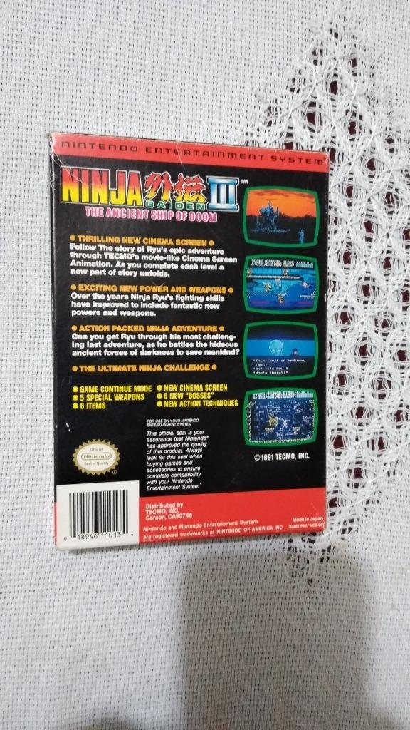 Nes Ninja Gaiden 3 Sin Manual Con Caja En Exelente Estado