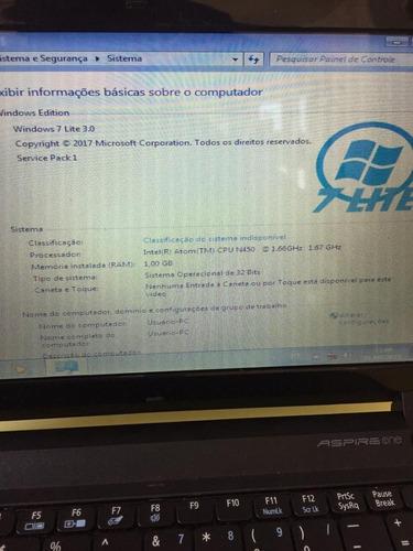 netbook aspire one 532h-2588 funcionando.