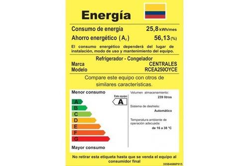 nevera centrales rcea250oyce 250 litros no frost - gris