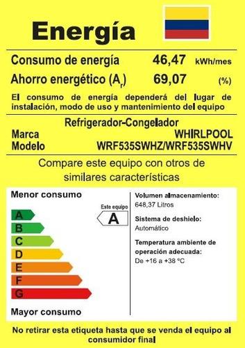 nevera french door 752lts negra negro - wrf535swhv whirlpool