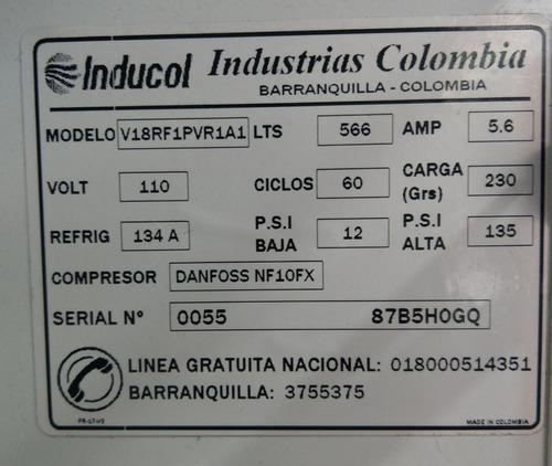 nevera vitrina inducol 566l