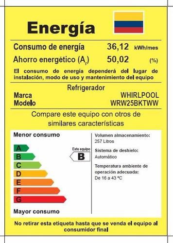 nevera whirlpool no frost - 264 lts - wrw25bktww