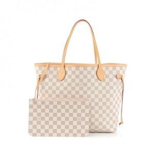ced27ad9a Bolsa Louis Vuitton Neverfull Damier Azur Cor Bege - Bolsas de Couro ...