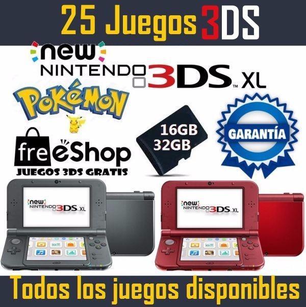 New 3ds Xl 25 Juegos 3d 32gb Nuevas Edicion Pokemon 8 500 00