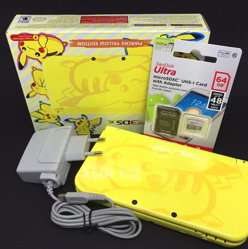 new 3ds xl pikachu edition com 64gb + de 100 jogos 3ds