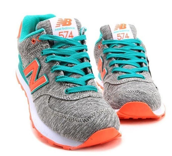 new balance 574 gris y naranja